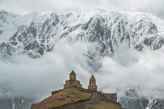 Church on the background of the mountain royalty free stock images