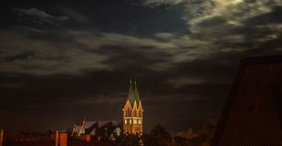 Church on the background of the night sky in Poland stock image