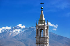 Church in the background volcano Royalty Free Stock Image
