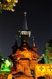 Church Baile Felix Romania Oradea transilvania in the night. A beautiful church in the night of Baile Felix Oradea,Romania royalty free stock photos