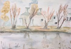 A Church on the bank of a river. Watercolour painting of A Church near a river a rainy on an autumn day Stock Photography