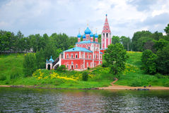 The church on the bank of the Volga River, Royalty Free Stock Photos