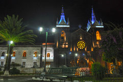 Church of Banos, Ecuador. Night view of the Church of Banos, Ecuador Royalty Free Stock Photos