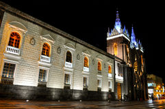 Church of Banos, Ecuador. Night view of the Church of Banos, Ecuador Stock Photos