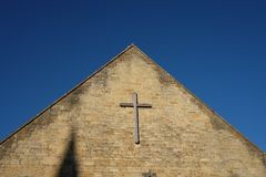 Church. Baptist non conformist religion cross symbol religious stone cotswold Royalty Free Stock Images