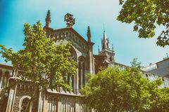 Church of Barcelona surrounded by trees, Spain stock photos