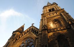 Church bathed in sunlight Stock Image