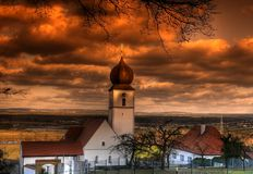 Church in Bavaria. In the sunset Royalty Free Stock Photography
