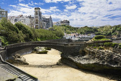 Church and beach of Biarritz, France Royalty Free Stock Images