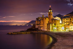 Church on the Beach in Camogli near Genoa Stock Photo