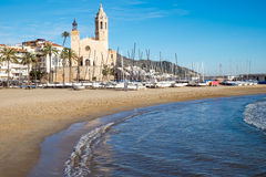 Church and beach in Sitges Royalty Free Stock Photography