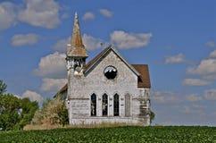 Church in a bean field Stock Photo