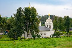 Church with beautiful Golden domes.Sergiev Posad 2018. Architecture Sergiev Posad 2018.Sergiev Posad, a Church with beautiful Golden domes stock image