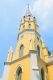 Church. Beautiful yellow church  at ayutthaya province (Thailand Royalty Free Stock Image