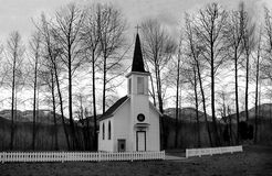 Church Behind of Bare Trees Royalty Free Stock Photos