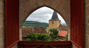 church behind french castle royalty free stock images