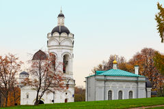 The Church-belfry of St. George and the church refectory in the park Kolomenskoye. Moscow, Russia. Royalty Free Stock Photos