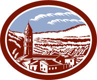 Church Belfry Tower Tuscany Italy Woodcut. Illustration of church belfry tower in Tuscany, Italy with surrounding houses and landscape set inside oval done in Stock Photos