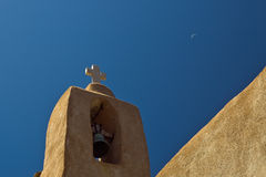 Church bell. Historic church at corse france, under a far moon Stock Photography