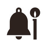 Church bell and candle icon Royalty Free Stock Photography