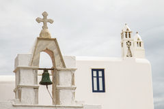Church with Bell in Mykonos  Greece Stock Image