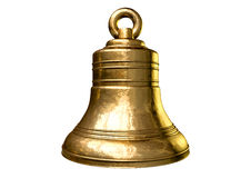 Church Bell. A regular gold metal church bell on an isolated white background Royalty Free Stock Photos