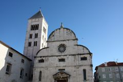 Church with bell tower. Ршыещкшс Church with bell tower in Zadar Croatia Royalty Free Stock Photography