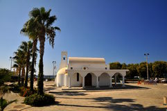The church with bell tower. On the Mediterranean coast of Cyprus Stock Photos