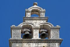 Church Bell Tower. With two bells ringing Stock Images