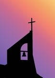 Church Bell Tower. Black Silhouette of a church against a vibrant gradient background stock photography