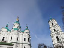 Church and bell tower. Against the blue sky Stock Image