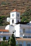 Church bell tower, Algarrobo, Spain. Town church bell tower and houses, Algarrobo, Axarquia region, Malaga Province, Andalusia, Spain, Western Europe Royalty Free Stock Photo