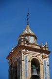 Church bell tower, Bornos, Spain. Church bell tower with large birds nest (Iglesia de Santo Domingo de Guzman), Bornos, Cadiz Province, Andalusia, Spain Stock Photos