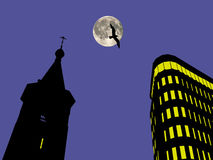 Church bell tower and business center at the night background Stock Photos