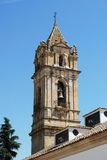 Church bell tower, Cabra. Parish of the Assumption church tower, Cabra, Cordoba Province, Andalusia, Spain, Western Europe Stock Photo