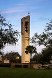 Church Bell Tower with Cross in McAllen Texas. Sunset before blue light royalty free stock photos