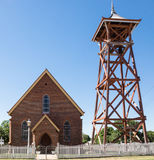 Church and bell tower. Historic brick church and bell tower Charters Towers, Australia Royalty Free Stock Photo