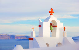 Church bell tower, Oia, Santorini Stock Images