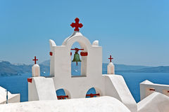 Church bell tower, Oia, Santorini, Greece Royalty Free Stock Images