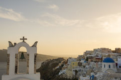 Church bell tower, Oia, Santorini, Greece Stock Photo