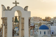 Church bell tower, Oia, Santorini, Greece Stock Image
