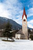 Church with a bell tower on the river Ahr Stock Photography