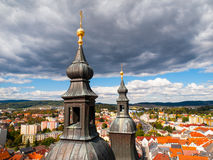 Church bell towers and cityscape Stock Photo
