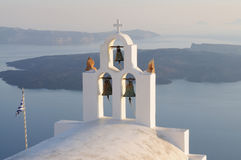 Church bells. On Santorini on a sunny day in summer Stock Photos