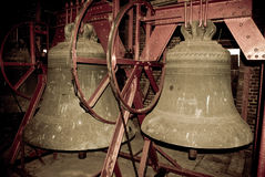 Church bells in the belltower of a church Royalty Free Stock Image