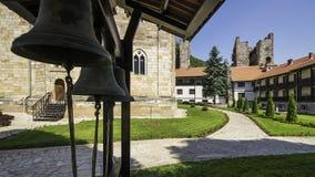 Church Bells of Monastery Manasija. Despotovac, Serbia - July 09, 2017: Church bells of Manasija Monastery, Church of Holy Trinity, Resava, Serbia Royalty Free Stock Photo