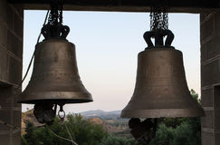 Church bells, mountain landscape on the background royalty free stock photography