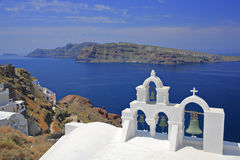 Church bells in Oia village Stock Photography