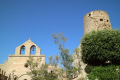 Church with bells and tower. Castle Capdepera, Mallorca, Spain Stock Photography