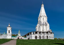 The church and belltower in Moscow. Church of the Ascension and a standalone belltower in Kolomenskoye park (former royal estate), Moscow, Russia. UNESCO World Royalty Free Stock Image